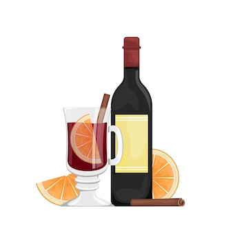Rode glühwein in een beker met stukjes sinaasappel en kruiden. winter alcoholische drank. illustratie met fles wijn, glühwein in een glas.