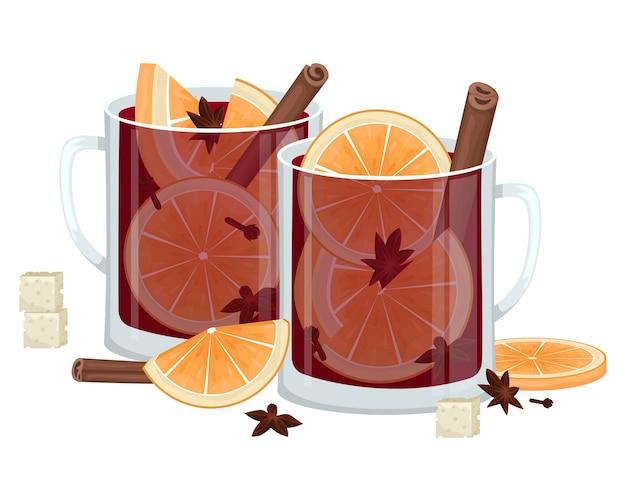 Rode glühwein in een beker met stukjes sinaasappel, kaneel, kruidnagel en een kuip. winter alcoholische drank. illustratie.