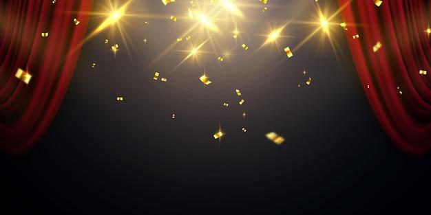 Rode gordijn achtergrond. groot openingsevenementontwerp. confetti gouden linten.