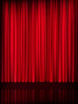 Rode gordijn achtergrond sjabloon. bestand opgenomen
