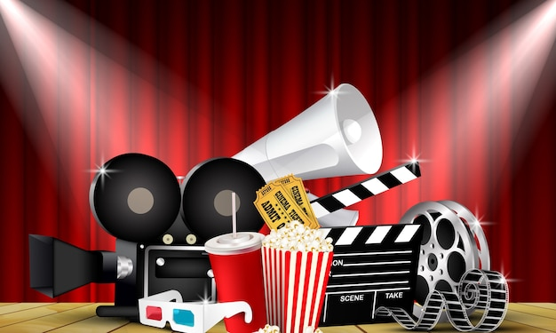 Rode gordijn bioscoopfilms op het podium