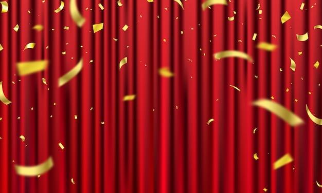 Rode gordijnachtergrond. grand opening evenementontwerp. confetti gouden linten.