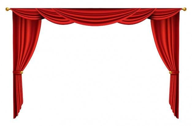 Rode gordijnen realistisch. theaterstof zijden decoratie voor bioscoop of operazaal. gordijnen en draperieën interieurdecoratie-object. geïsoleerd op wit voor theaterpodium