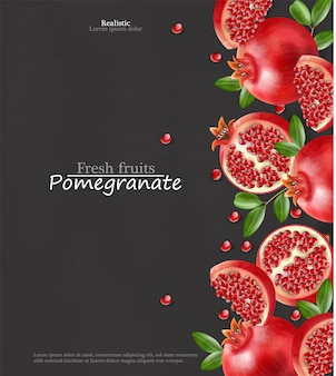 Rode granaatappel realistische, vers fruit geïsoleerd, zwarte achtergrond