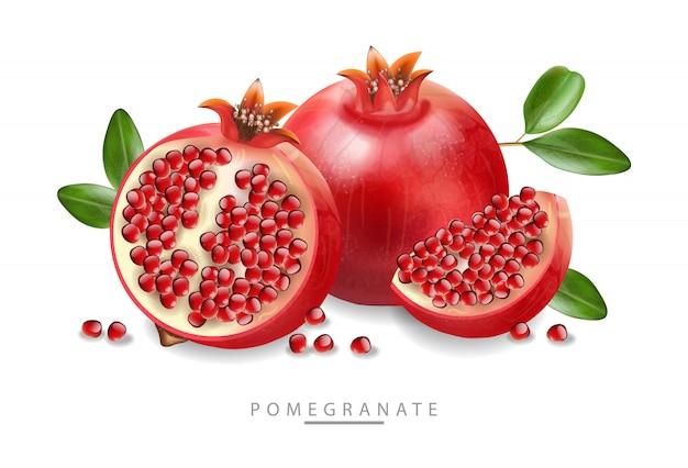 Rode granaatappel realistische, vers geïsoleerd fruit, witte achtergrond