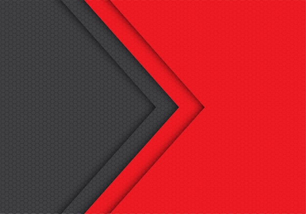 Rode grijze achtergrond van de het patroonrichting van het pijl hexagon netwerk.