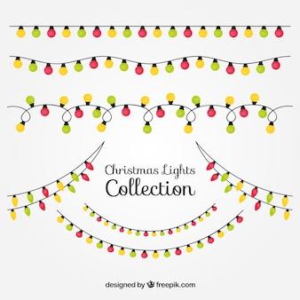 Rode, groene en gele kerstverlichting