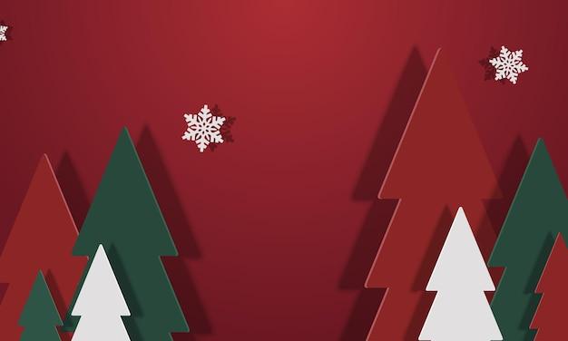 Rode, groene en witte kerstboom met sneeuwvlokken en schaduw in papierstijl
