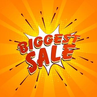 Rode grootste verkoop lettering op pop art explosie.