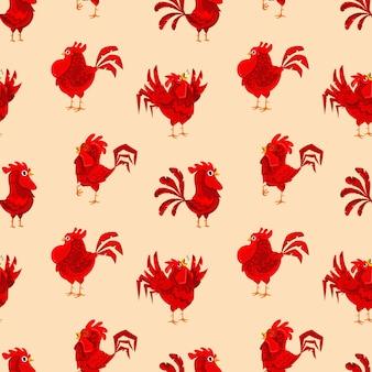 Rode haan cartoon naadloze patroon