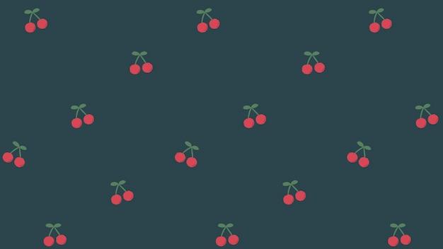 Rode handgetekende kersen naadloos patroon