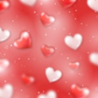 Rode hart bokeh-achtergrond voor valentijnskaartdag