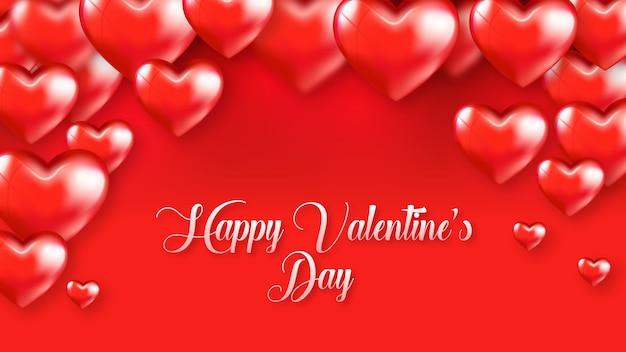 Rode harten drijvende happy valentine-kaart