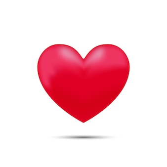 Rode hartvorm. geïsoleerde liefde teken. realistisch hartelement.