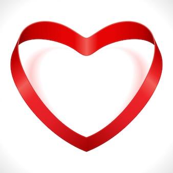 Rode hartvorm van de illustratie van de de valentijnskaartendag van het zijdelint op wit