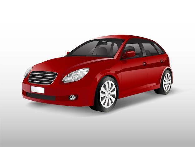 Rode hatchbackauto die op witte vector wordt geïsoleerd