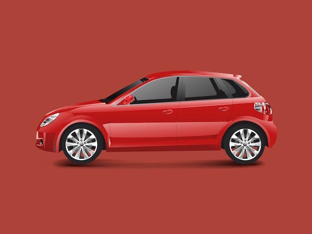 Rode hatchbackauto in een rode vector als achtergrond