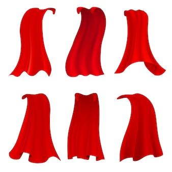 Rode heldenkaap. realistische stoffen scharlaken mantel of magische vampierhoes. vector set geïsoleerd