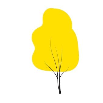 Rode herfstboom doodles vector elk seizoen winter lente summen en herfst vlakke stijl handgetekende ontwerp