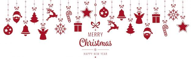 Rode het ornamentelementen die van kerstmis geïsoleerde achtergrond hangen Premium Vector
