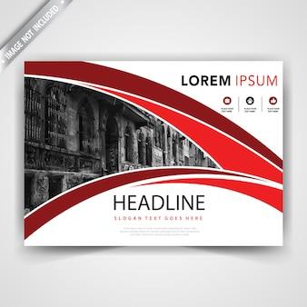 Rode horizontale golvende leaflet-sjabloon