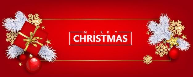 Rode horizontale kerstbanner met geschenkdozen en gouden sneeuwvlokken met 3d-effecten