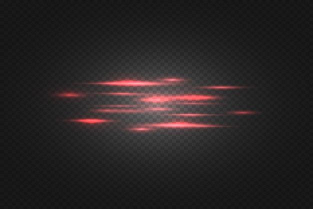 Rode horizontale lens flares pack. laserstralen, horizontale lichtstralen. mooie lichte fakkels. gloeiende strepen op donkere achtergrond. lichtgevende abstracte mousserende gevoerde achtergrond.