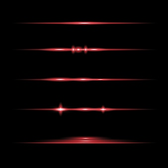 Rode horizontale lens flares pack. laserstralen, horizontale lichtstralen. mooie lichtfakkels. gloeiende strepen op een donkere achtergrond. lichtgevende abstracte sprankelende beklede achtergrond.