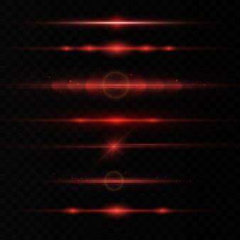 Rode horizontale lens flares set, laserstralen