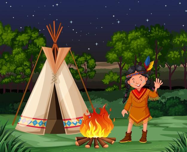 Rode indiaan bij het kampvuur