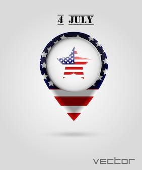 Rode kaartmarkeringen. 4 juli thema.