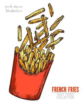 Rode kartonnen doos met frietjes