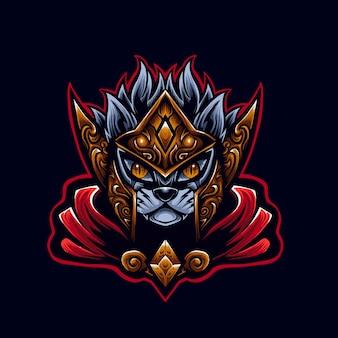 Rode kat krijger logo mascotte illustrator