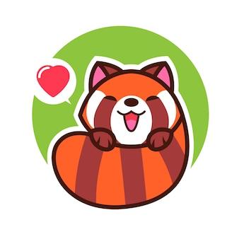 Rode kawaii vectorillustratie van het pandabeeldverhaal