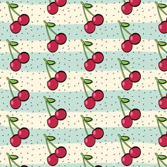 Rode kers fruit patroon achtergrond