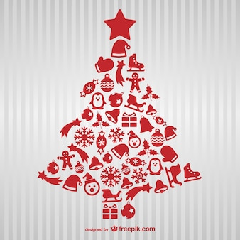 Rode kerst boom met iconen