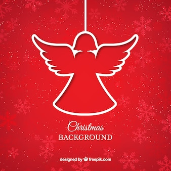Rode kerst engel achtergrond Premium Vector