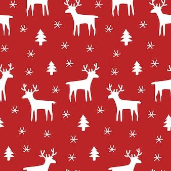 Rode kerst naadloze patroon met rendieren en sneeuwvlokken.