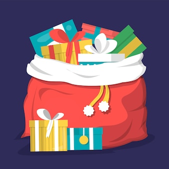 Rode kerst tas vol geschenkdoos geïsoleerd. vakantieverrassing, kerstmanzak. ansichtkaartdecoratie, ontwerpelement.