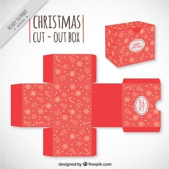 Rode kerst uitgesneden doos