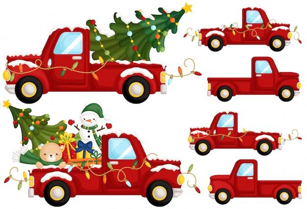 Rode kerst vrachtwagen kant