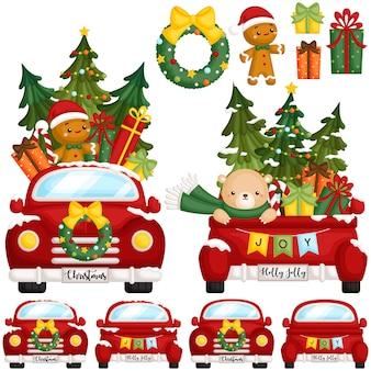 Rode kerst vrachtwagen voorkant