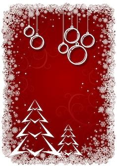 Rode kerstachtergrond met bollen en boom