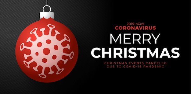 Rode kerstbal en gevaar voor het coronavirus in quarantaine