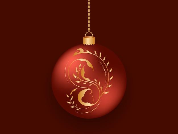 Rode kerstbal met een gouden kleur, highlights en een gouden ketting
