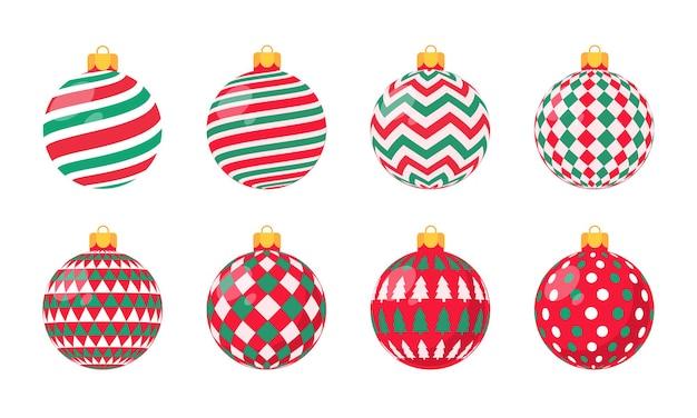 Rode kerstbal vector met wit patroon voor kerstviering