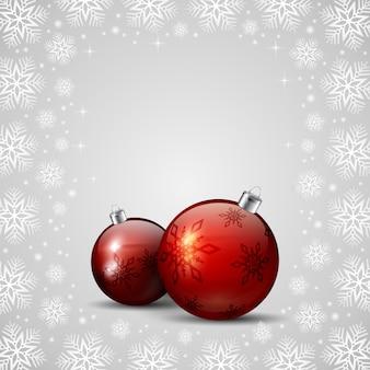 Rode kerstballen en sneeuwvlokken