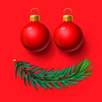 Rode kerstballen en spartakje, glimlachgezicht