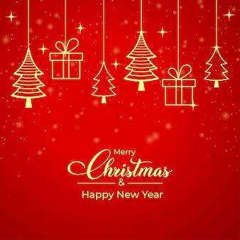 Rode kerstkaart met gouden geschenkdoos, gouden dennenboom icoon. kerstbanner op een rode achtergrond. kerstcadeaukaart met gouden elementen en rode achtergrond. xmas social media postontwerp.