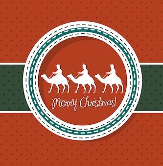 Rode kerstkaart met kamelen vectorillustratie